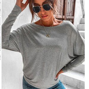 Seven Sister Oversized Winged Grey Top
